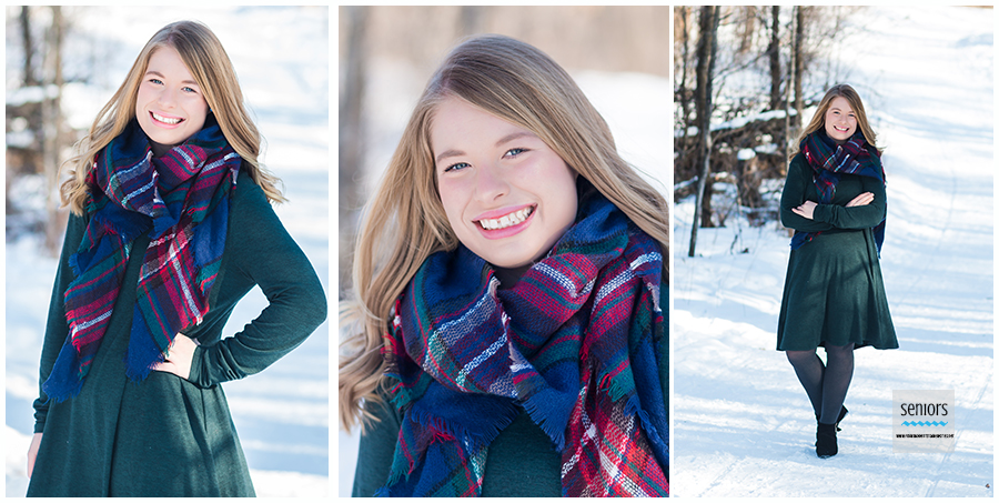 beautiful girl taking winter senior pictures in the snow at a park in elk river, minnesota