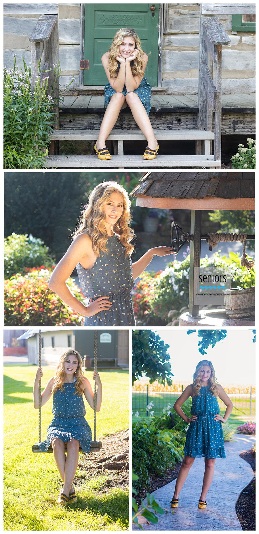 a STMA high school senior girl in a blue dress with yellow shoes getting her senior portraits taken at the Little Log House Pioneer Village in Hastings, Minnesota.