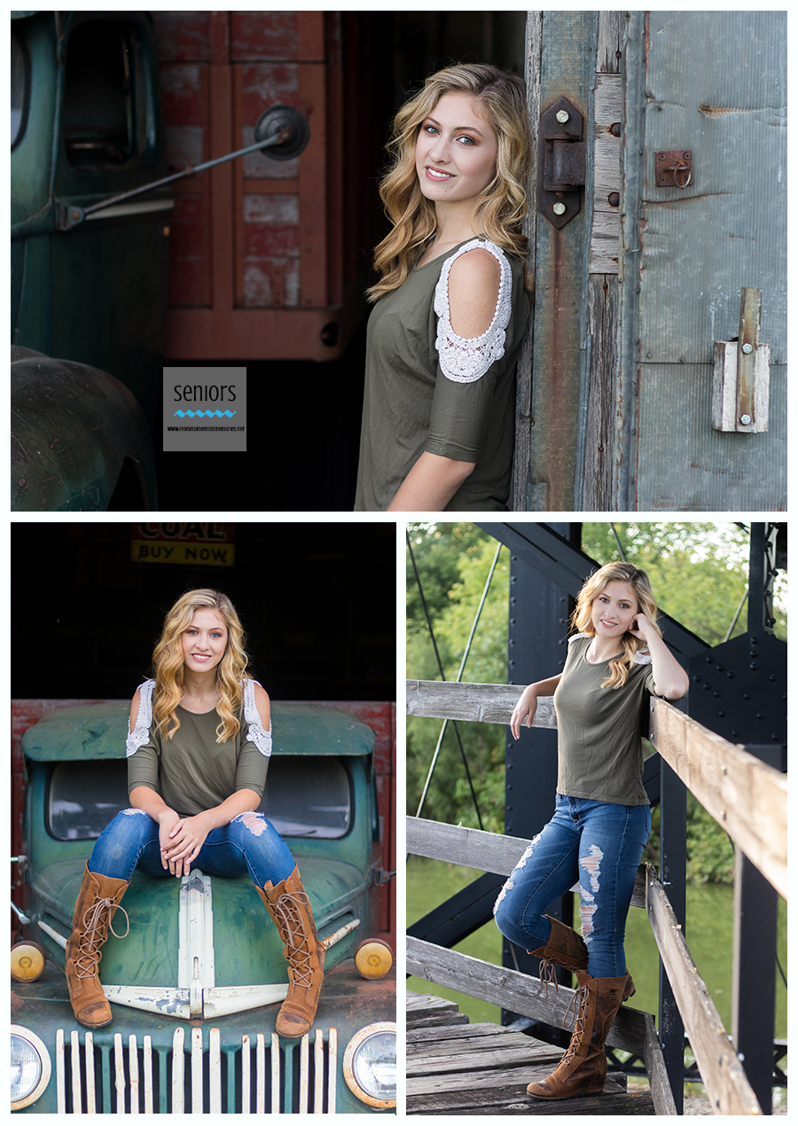 STMA senior pictures for senior girl being taken at Little Log House Pioneer Village in Hastings, Minnesota.