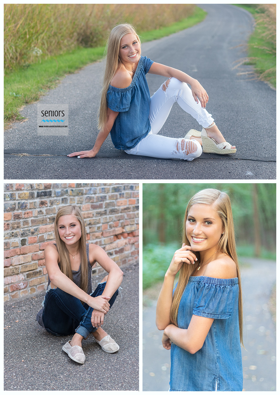 A teenage girl from Princeton High School getting her senior portraits taken in Anoka, Rogers, and Otsego, Minnesota.