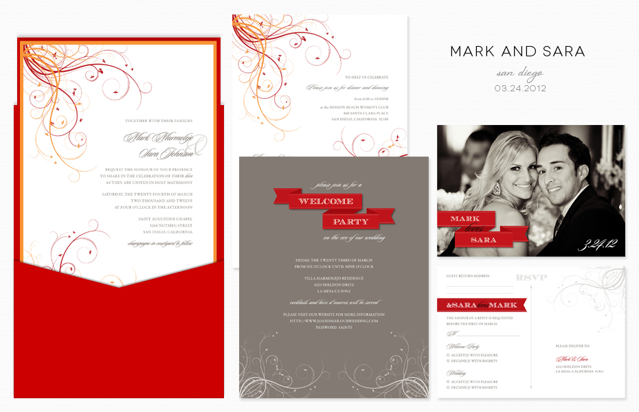 Custom Wedding Invitation | Red and Orange | San Diego