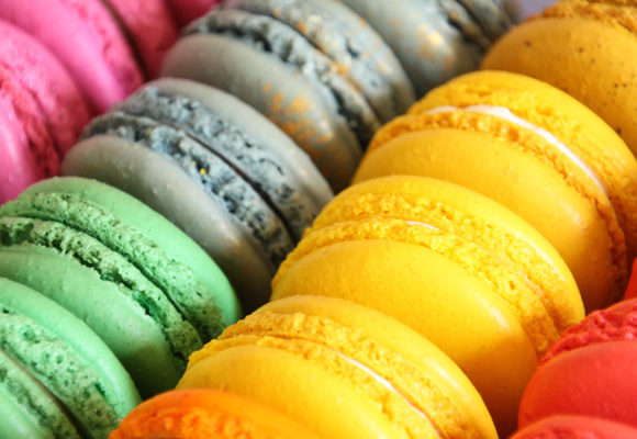 a rainbow of beautiful macaroons