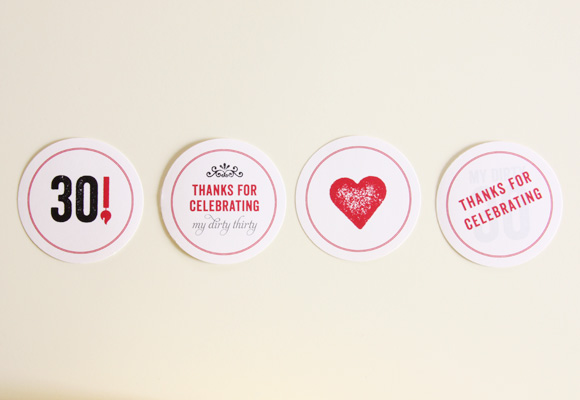 red 30th birthday party | candy bag stickers