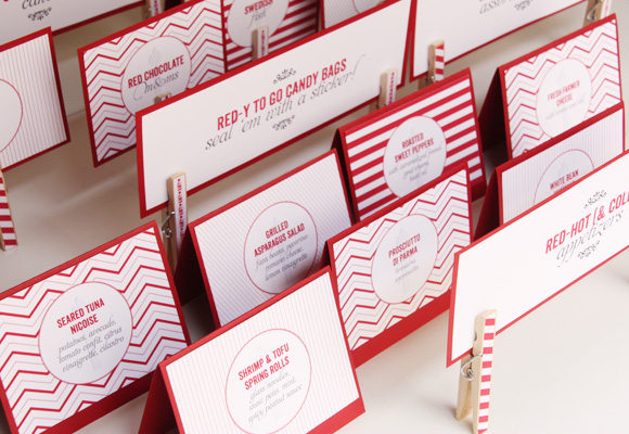 red 30th birthday party | custom food labels