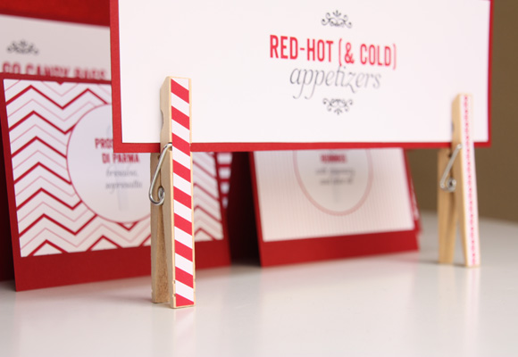 red 30th birthday party | DIY striped clothespins as food label holders