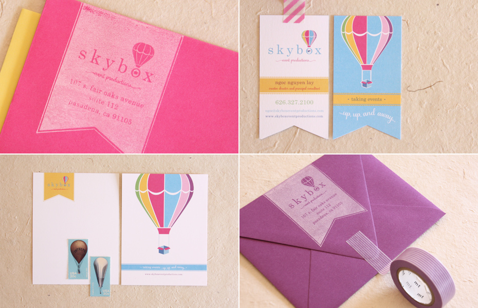 Skybox | Colorful Event Planning Branding, Letterhead, and Business Card