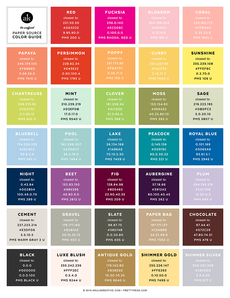 The Unofficial Paper Source Color Guide Akula Kreative