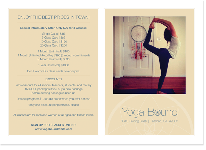 Yoga Bound Postcard Design