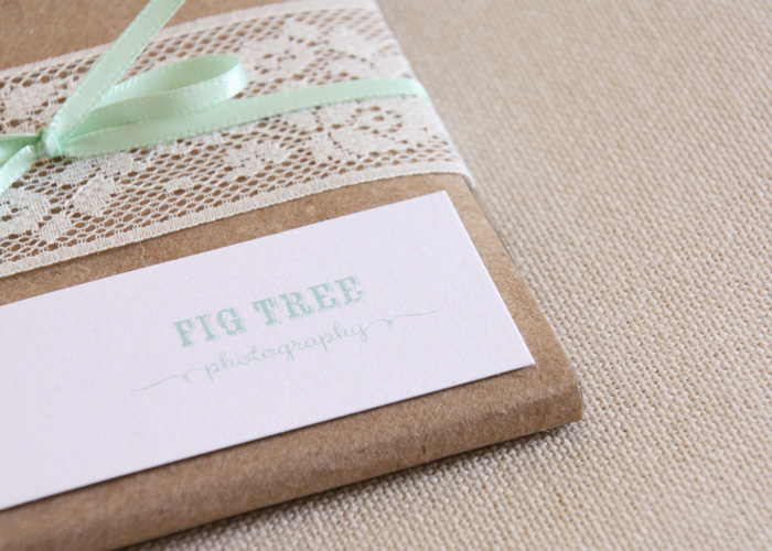 creative photo packaging using butcher paper and lace