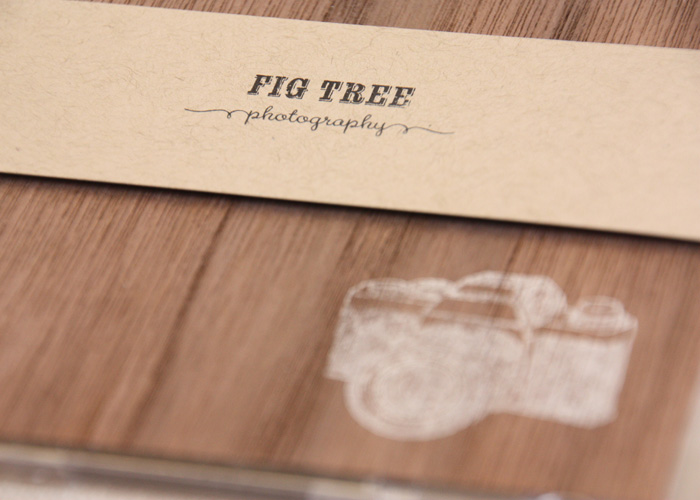 creative photo packaging using real wood and chalkboard paper