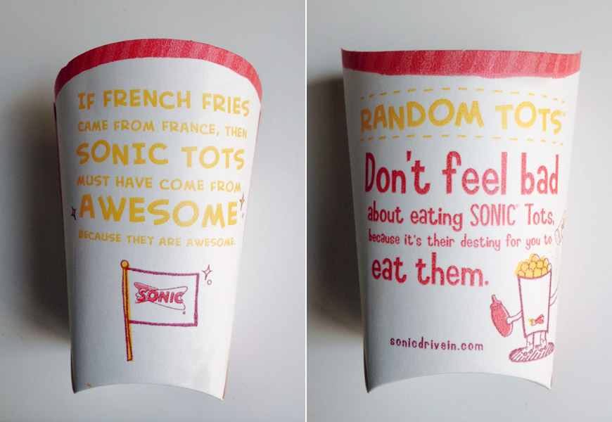 Sonic Drive-In Tots Packaging