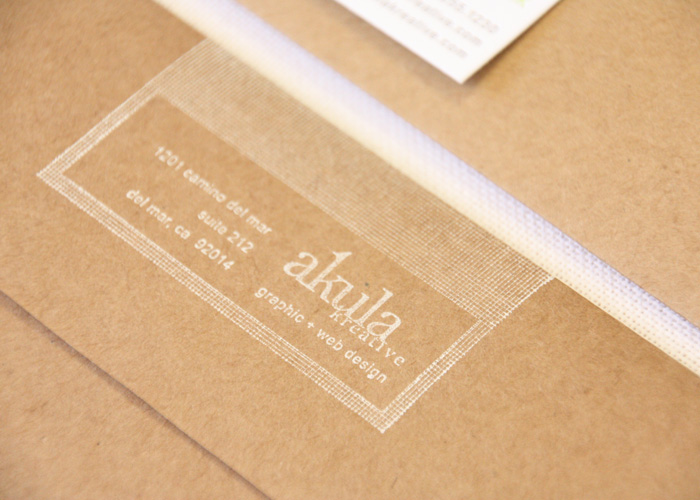 Creative Branding | hand stamped kraft envelope in white ink