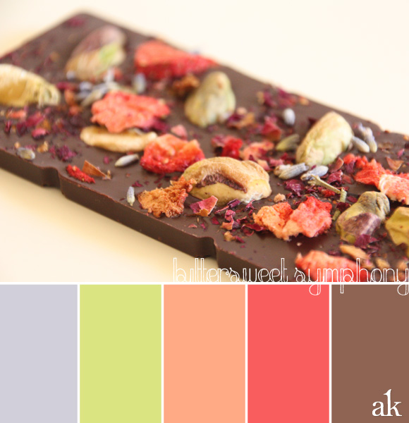 berries and chocolate color palette | strawberry, lavender, green, brown