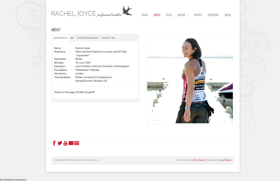 Rachel Joyce | Professional Triathlete Web Design