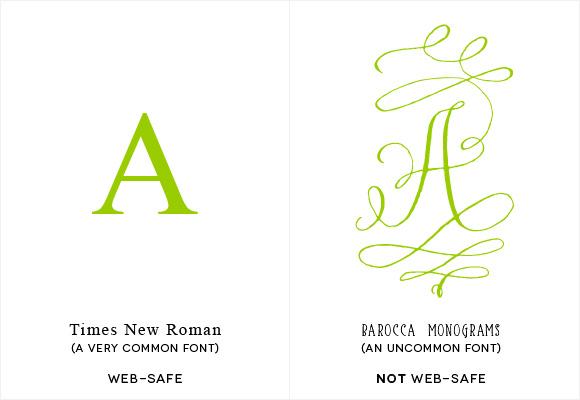 web-safe font vs. not web-safe font