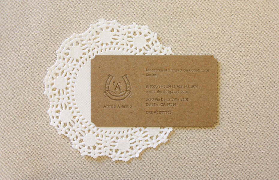 equestrian horse shoe letterpress kraft business card