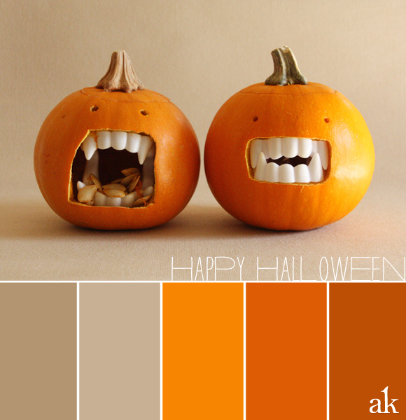 dracula domo pumpkin color palette | orange and tan