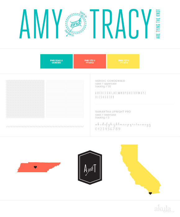 Amy and Tracy Wedding Branding | modern, aqua, tangerine, yellow