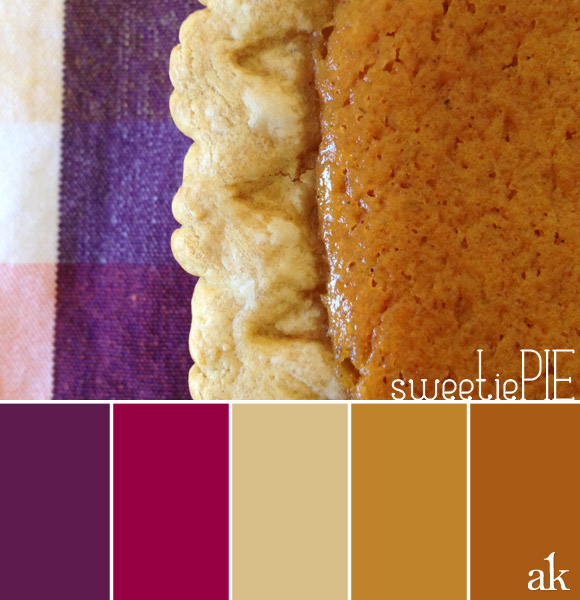 color inspiration | pie | pumpkin, purple, berry, tan