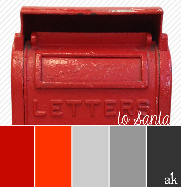 modern Christmas color palette | letters to Santa | red, orange, gray