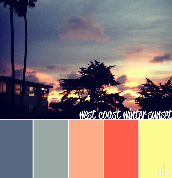 California Sunset color inspiration | neon, orange, yellow, gray, blue