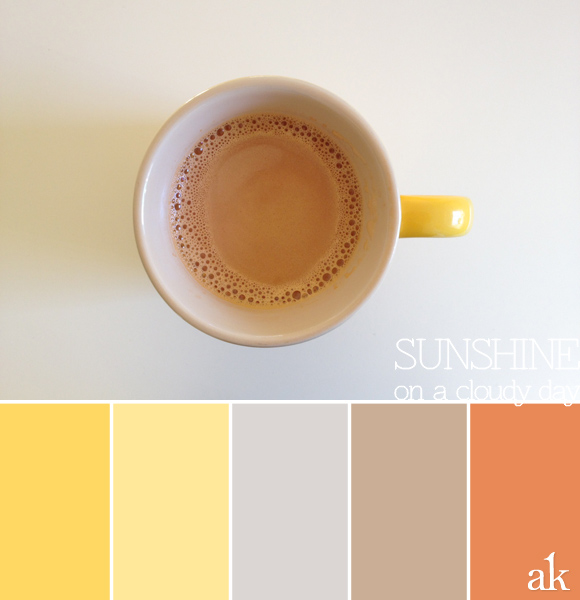 Color inspiration | coffee, yellow, gray, taupe