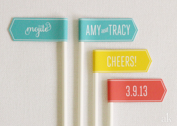 Custom Drink Flags // Modern South by Southwest Wedding // Teal, Orange, Yellow