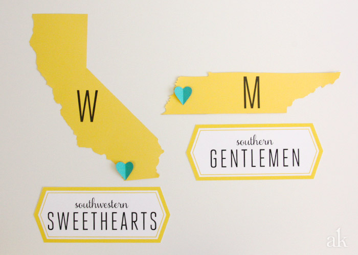 Custom Bathroom Signs for a Modern Wedding // South by Southwest