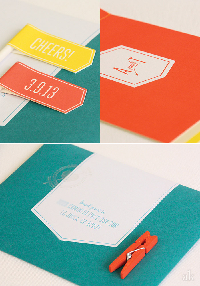 Custom Wedding Invitation // modern // yellow, turquoise, orange
