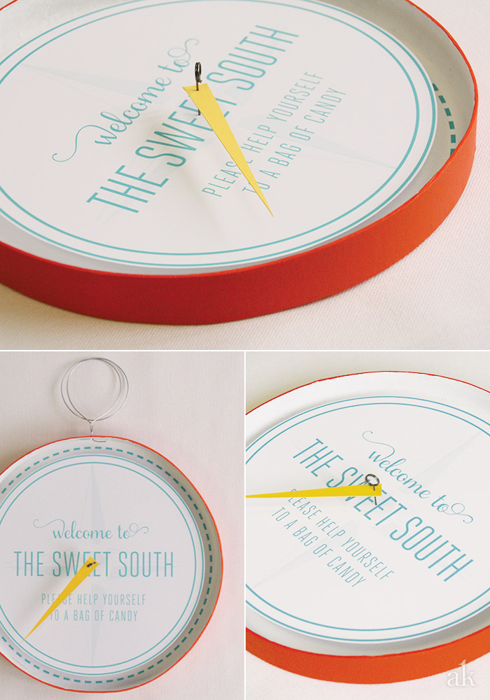 Custom Candy Table Sign // DIY Paper Compass // South by Southwest Wedding inspiration