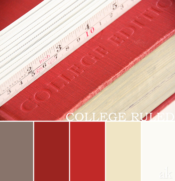 an academia-inspired color palette // taupe, red, cream, white