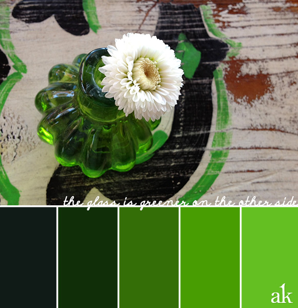 a green-glass-inspired color palette // gradient of greens