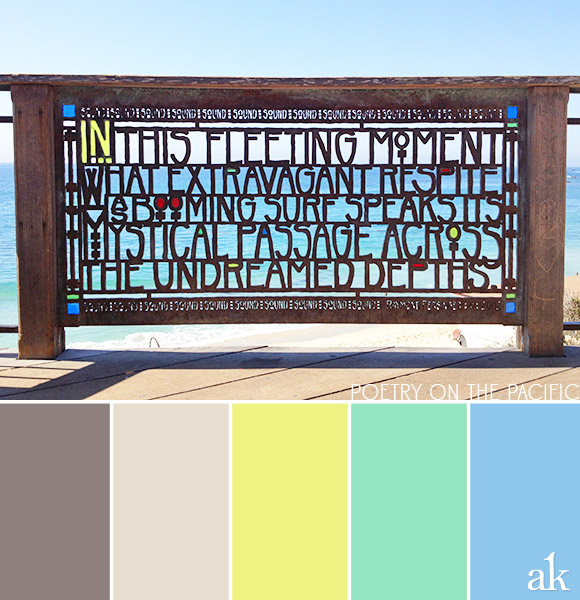 a seaside-sign-inspired color palette // taupe, sand, neon yellow, seafoam green, blue