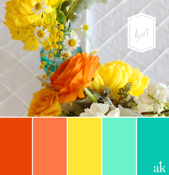 Amy + Tracy's wedding color palette // turquoise, teal, yellow, and tangerine (orange)