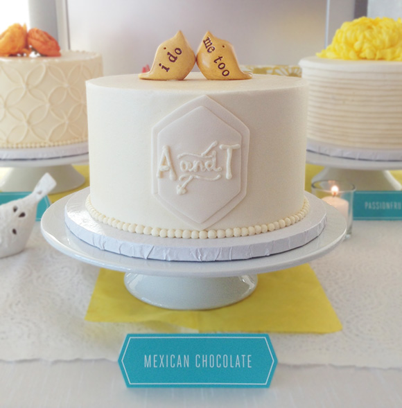 A custom wedding logo translated to the cake!