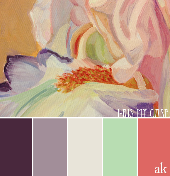 an iris-inspired color palette // plumb, light purple, seafoam green, pink