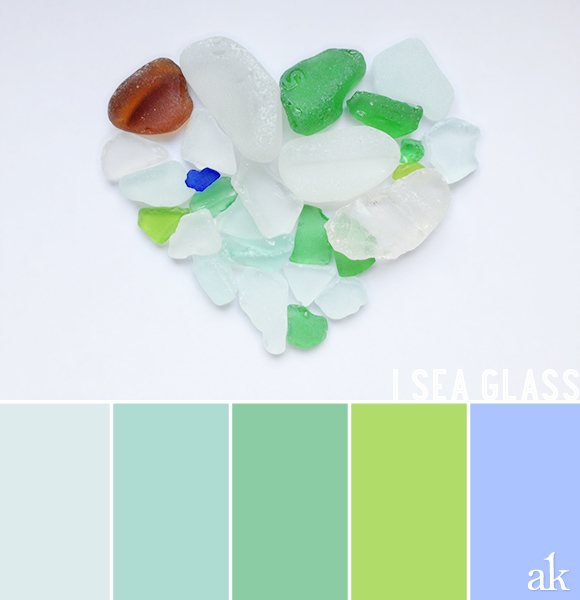 a sea-glass-inspired color palette // pastels // white, green, blue