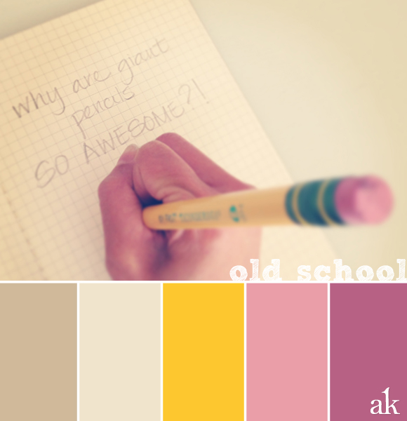 a pencil-inspired color palette // taupe, yellow, pink
