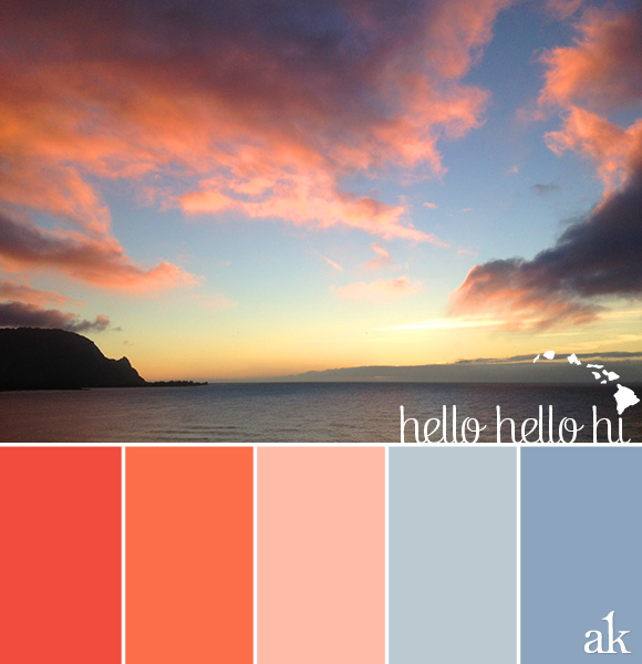 a Hawaiian-sunset-inspired color palette // red, neon orange, peach, blue