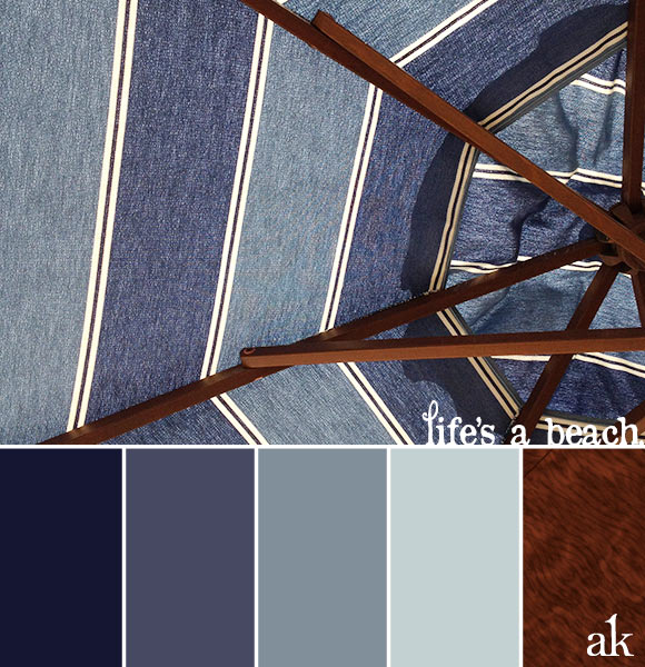 an umbrella-inspired nautical color palette // blues and brown, wood