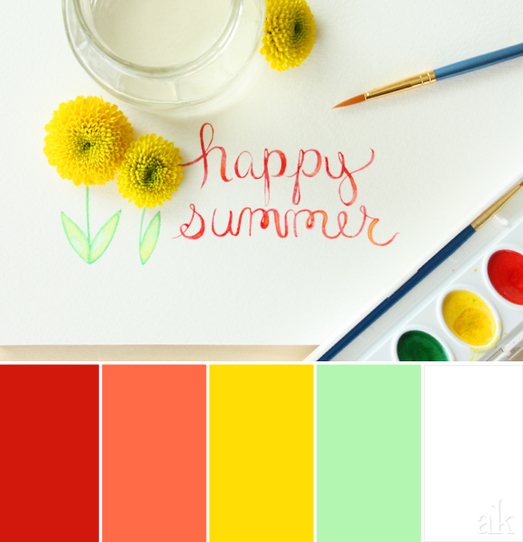 a summer-watercolor-inspired color palette // red, orange, yellow, green