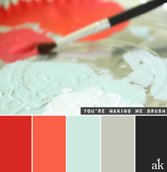 a paintbrush-inspired color palette // red, papaya, blue, gray, black