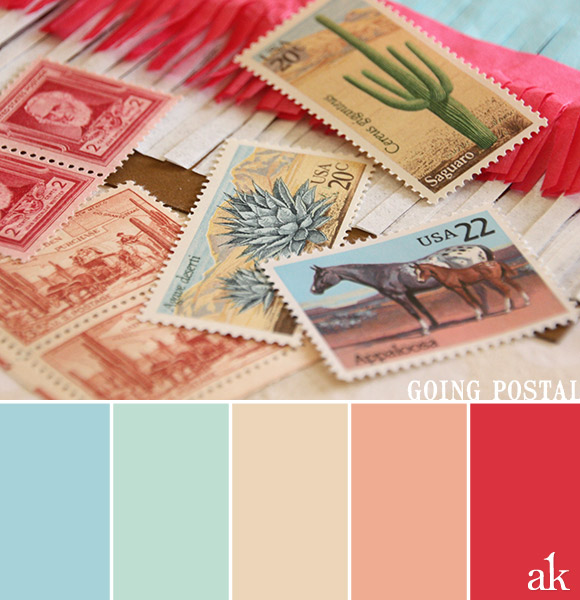 a vintage-stamp-inspired color palette // baby blue, aqua, sand, peach, pink
