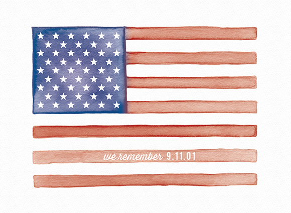 We remember 9.11.01 // Watercolor Flag