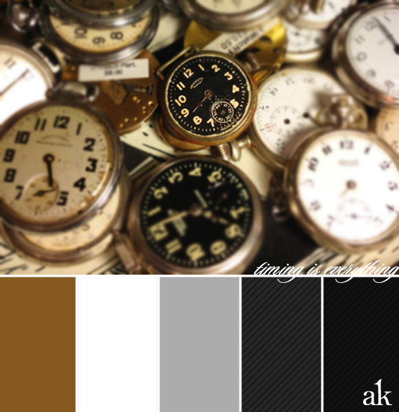a pocket-watch-inspired color palette // antique gold, white, gray, black, pinstripes