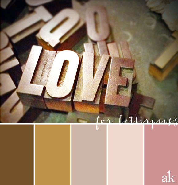 a handset-type-inspired color palette // gold, mauve, pink