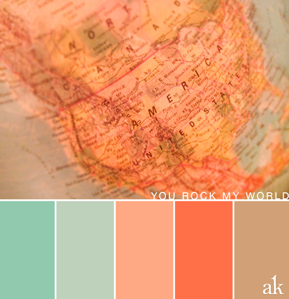 a globe-inspired color palette // light teal, blue, peach, tan
