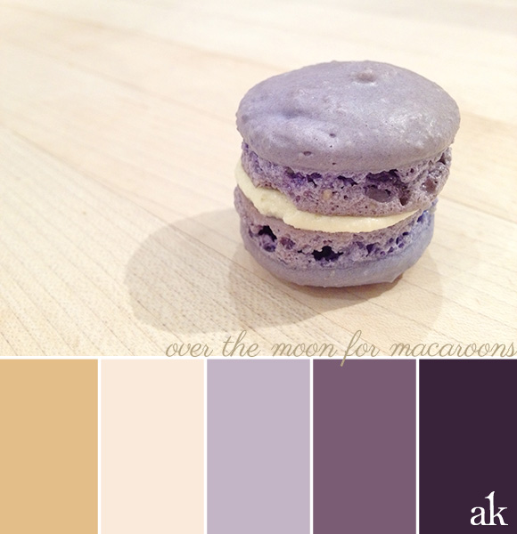 a lavender-macaroon-inspired color palette // beige, light pink, lavender, dark purple
