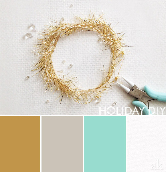 a holiday-diy-inspired color palette // gold, gray, aqua, white