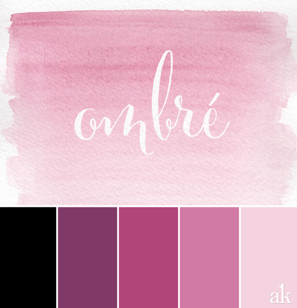 an ombré-watercolor-inspired color palette / black, plum, purple, pink